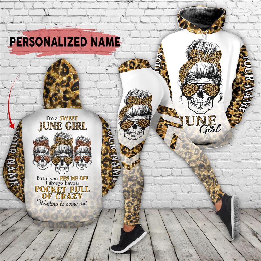 June Birthday Girl Combo June Outfit Personalized Hoodie Legging Set V012