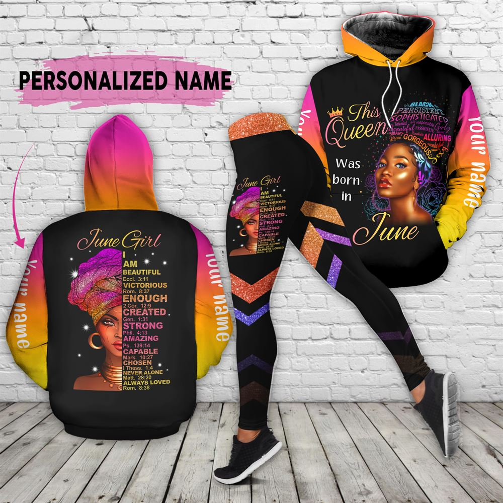 June Birthday Girl Combo June Outfit Personalized Hoodie Legging Set V020