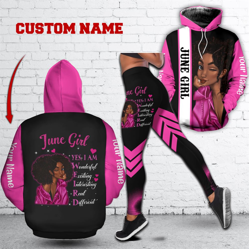 June Birthday Girl Combo June Outfit Personalized Hoodie Legging Set V021