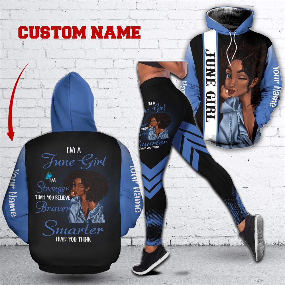 June Birthday Girl Combo June Outfit Personalized Hoodie Legging Set V024