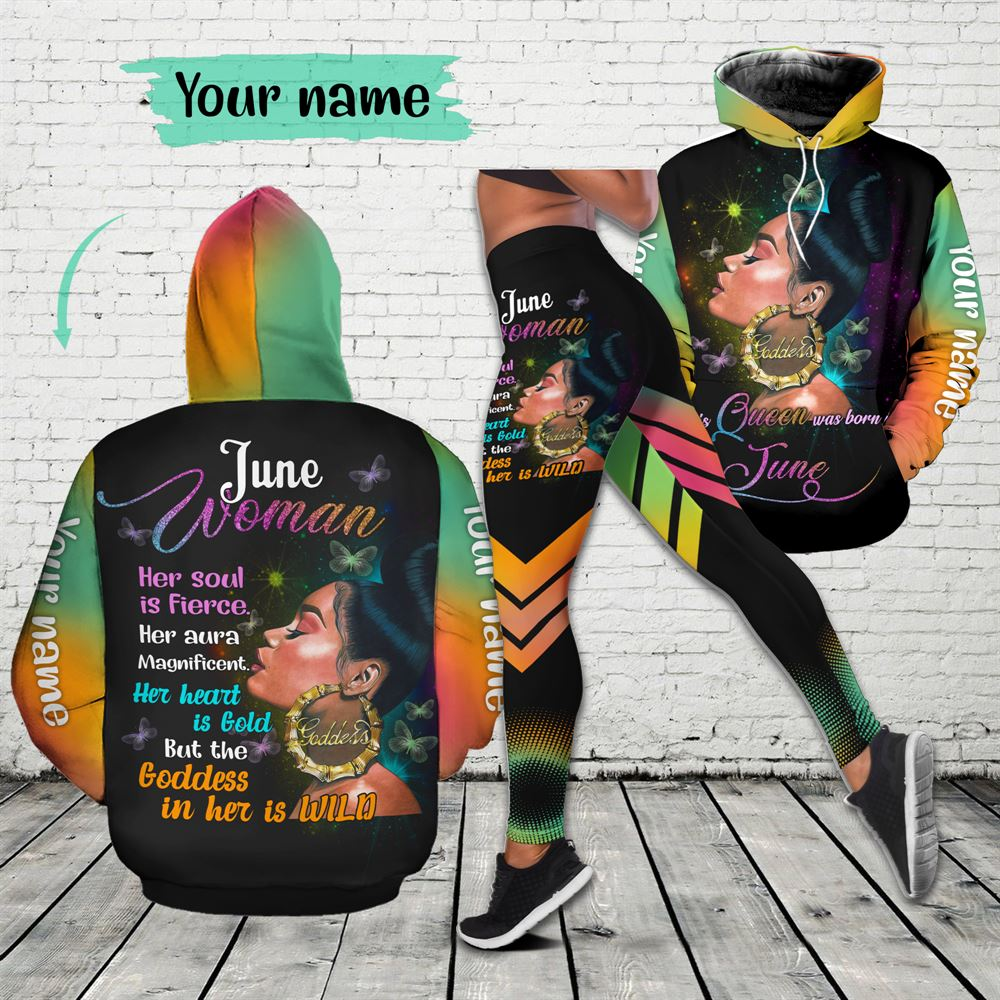 June Birthday Girl Combo June Outfit Personalized Hoodie Legging Set V04