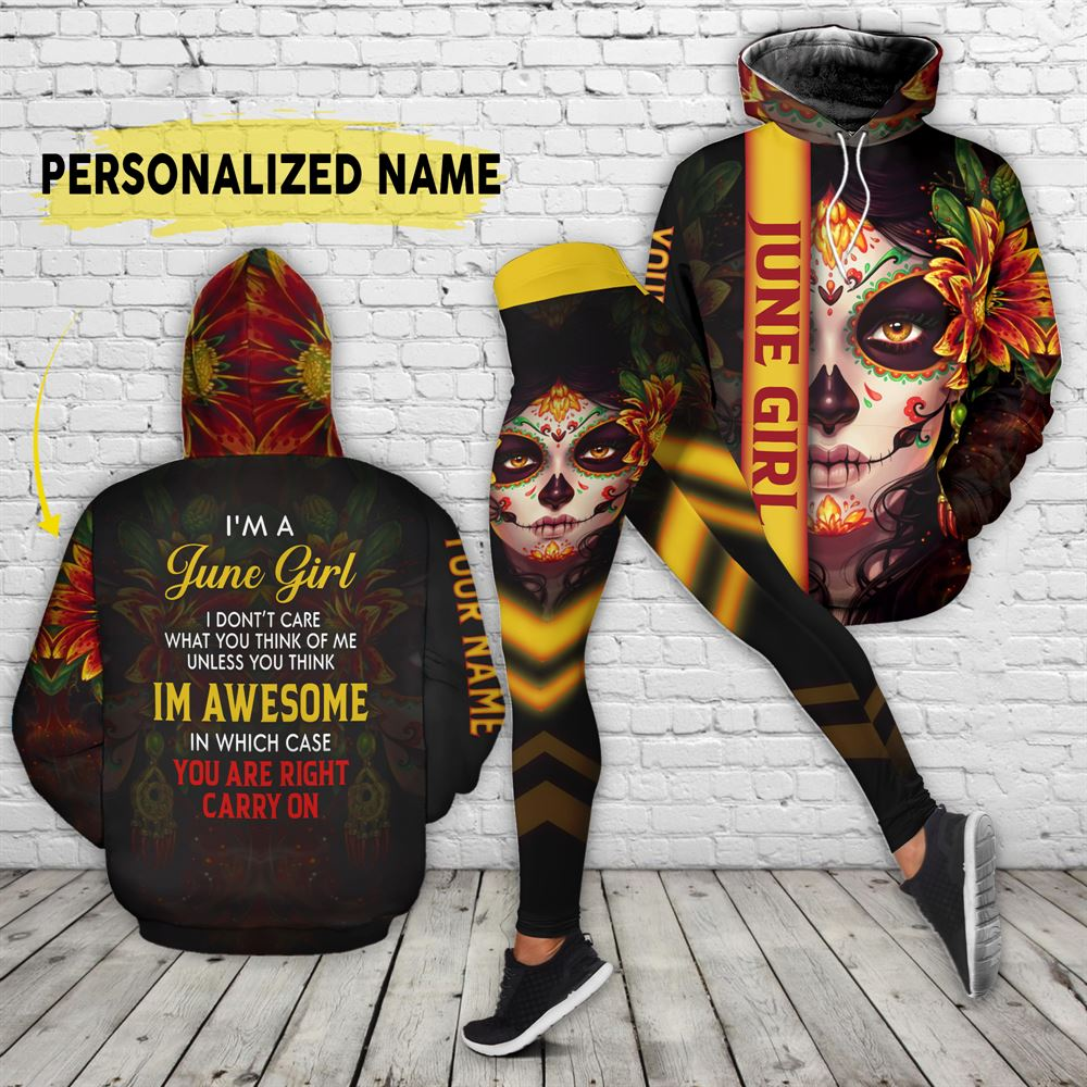 June Birthday Girl Combo June Outfit Personalized Hoodie Legging Set V06