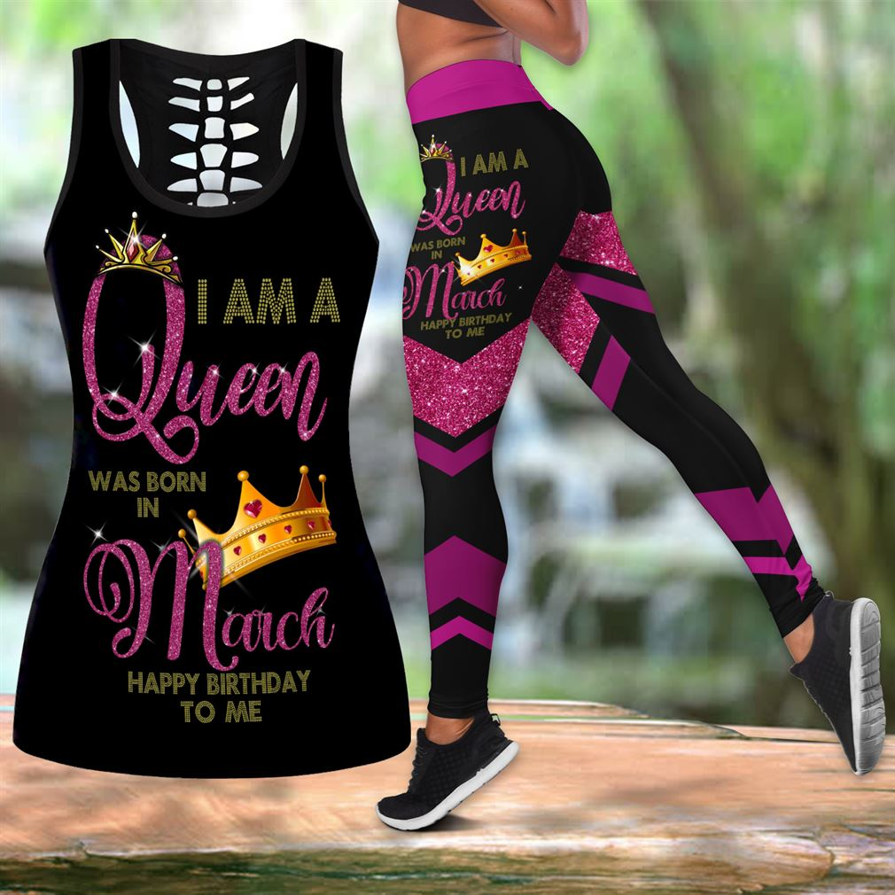 March Birthday Girl Combo Outfit Hollow Tanktop Legging Set V62