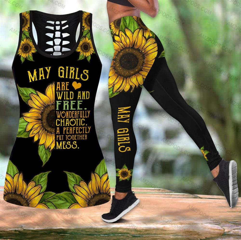 May Birthday Girl Combo May Outfit Hollow Tanktop Legging Personalized Set V012