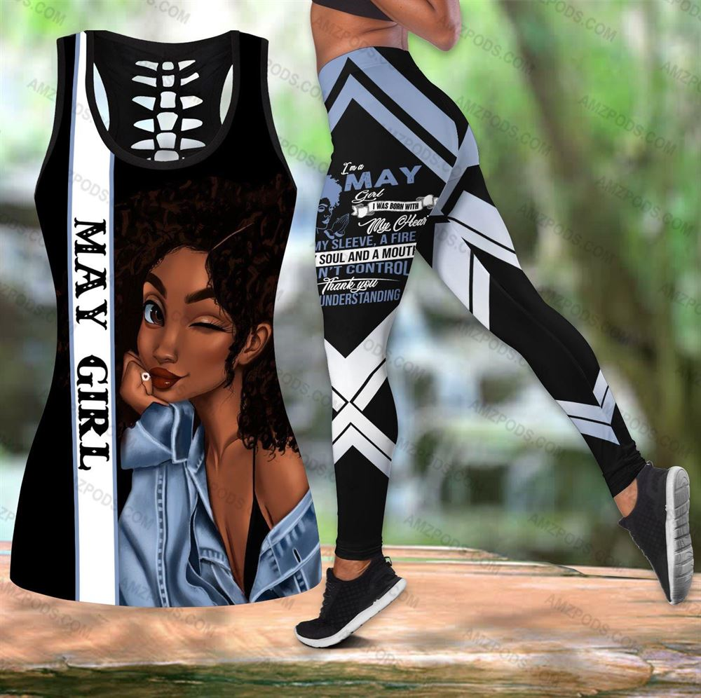 May Birthday Girl Combo May Outfit Hollow Tanktop Legging Personalized Set V014