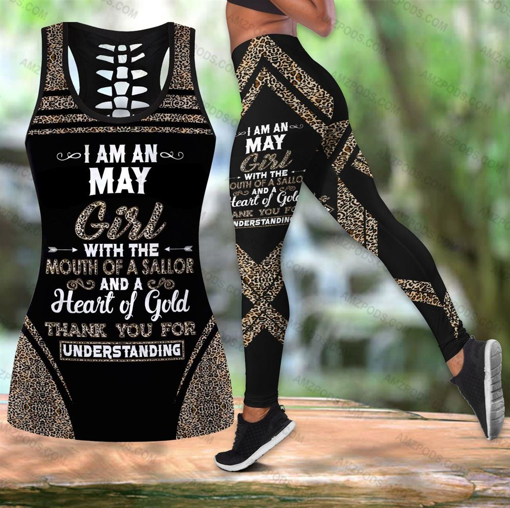 May Birthday Girl Combo May Outfit Hollow Tanktop Legging Personalized Set V015