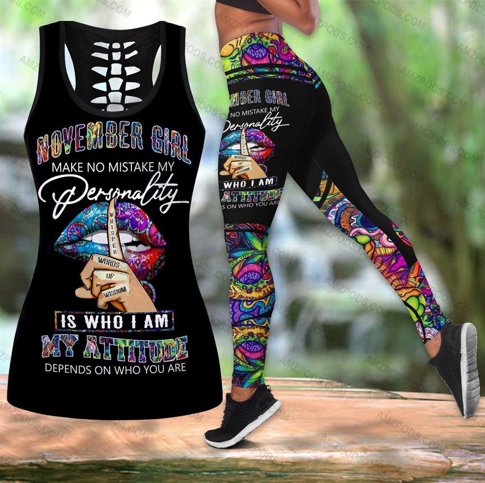November Birthday Girl Combo November Outfit Hollow Tanktop Legging Personalized Set V014