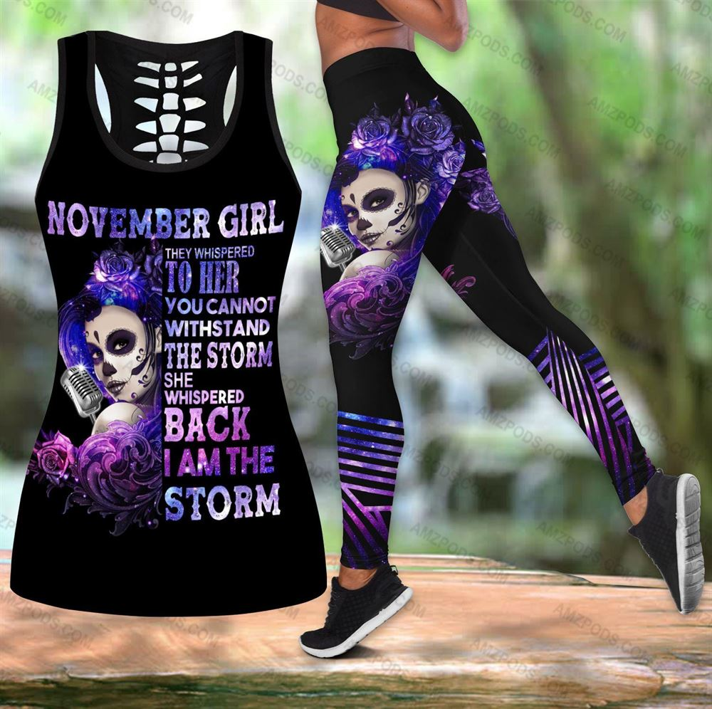November Birthday Girl Combo November Outfit Hollow Tanktop Legging Personalized Set V02