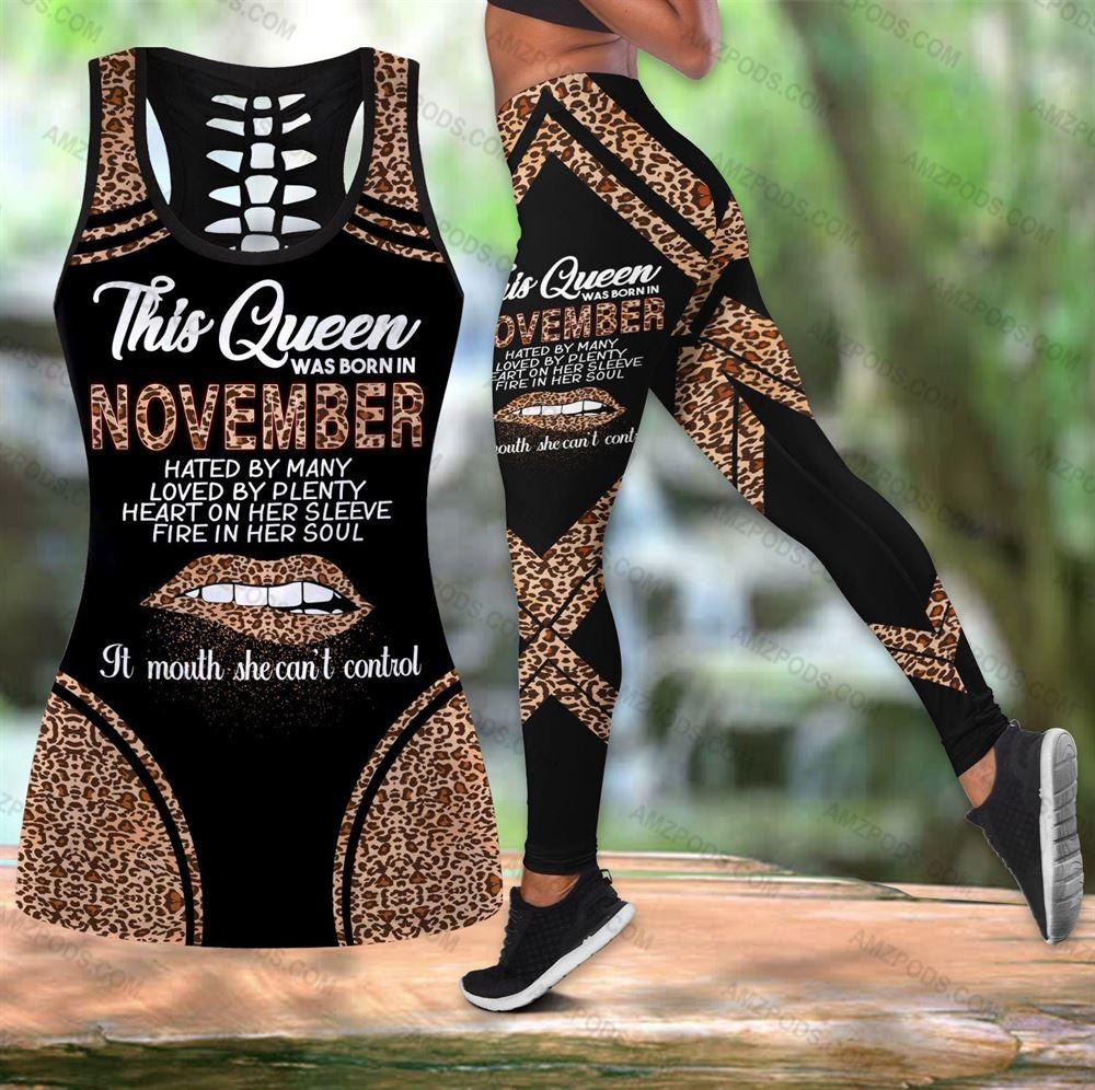November Birthday Girl Combo November Outfit Hollow Tanktop Legging Personalized Set V020