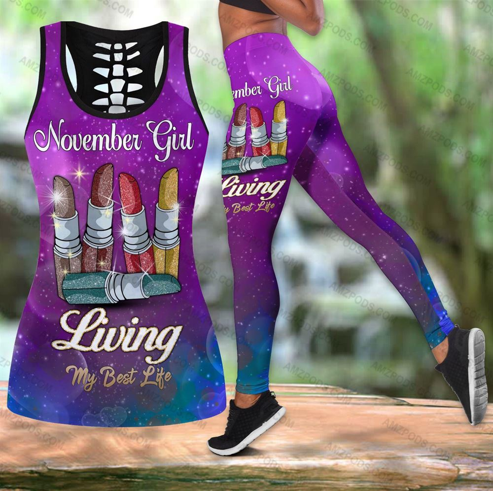 November Birthday Girl Combo November Outfit Hollow Tanktop Legging Personalized Set V022