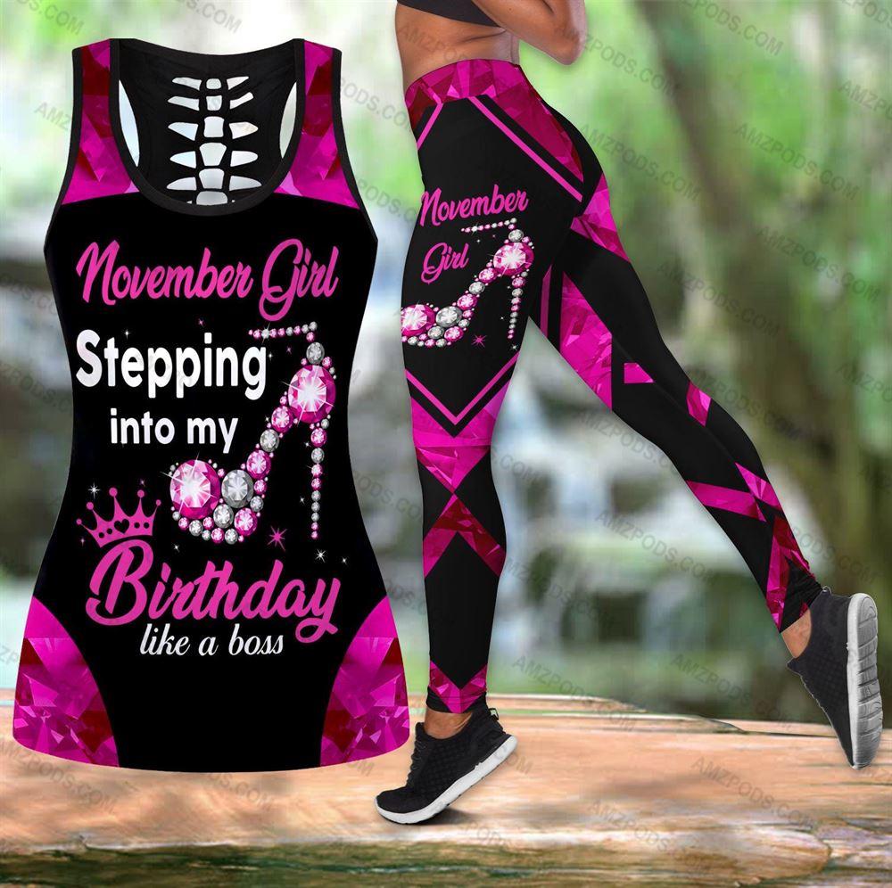 November Birthday Girl Combo November Outfit Hollow Tanktop Legging Personalized Set V038