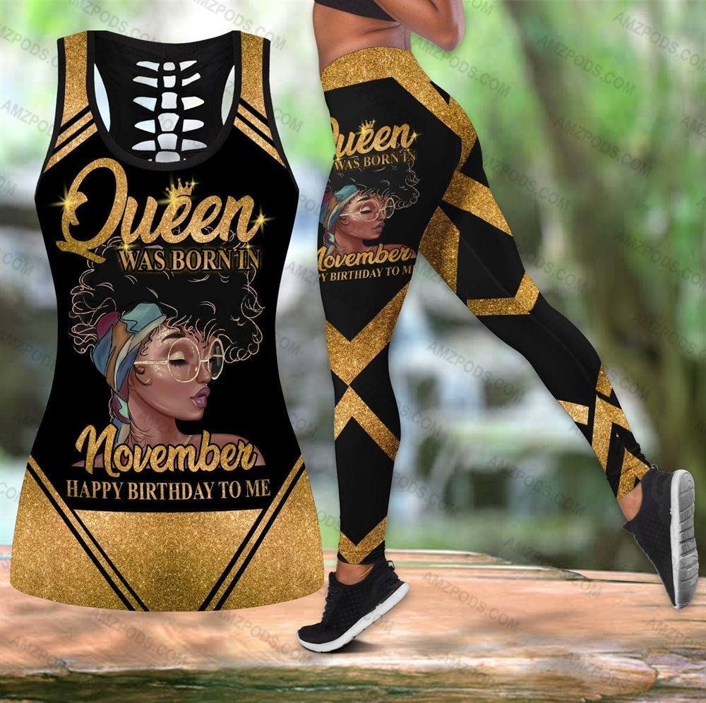 November Birthday Girl Combo November Outfit Hollow Tanktop Legging Personalized Set V039
