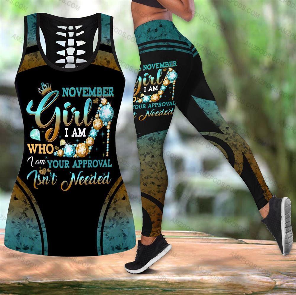 November Birthday Girl Combo November Outfit Hollow Tanktop Legging Personalized Set V047