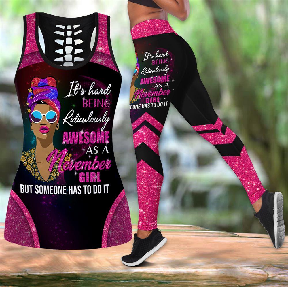 November Birthday Girl Combo November Outfit Hollow Tanktop Legging Personalized Set V054