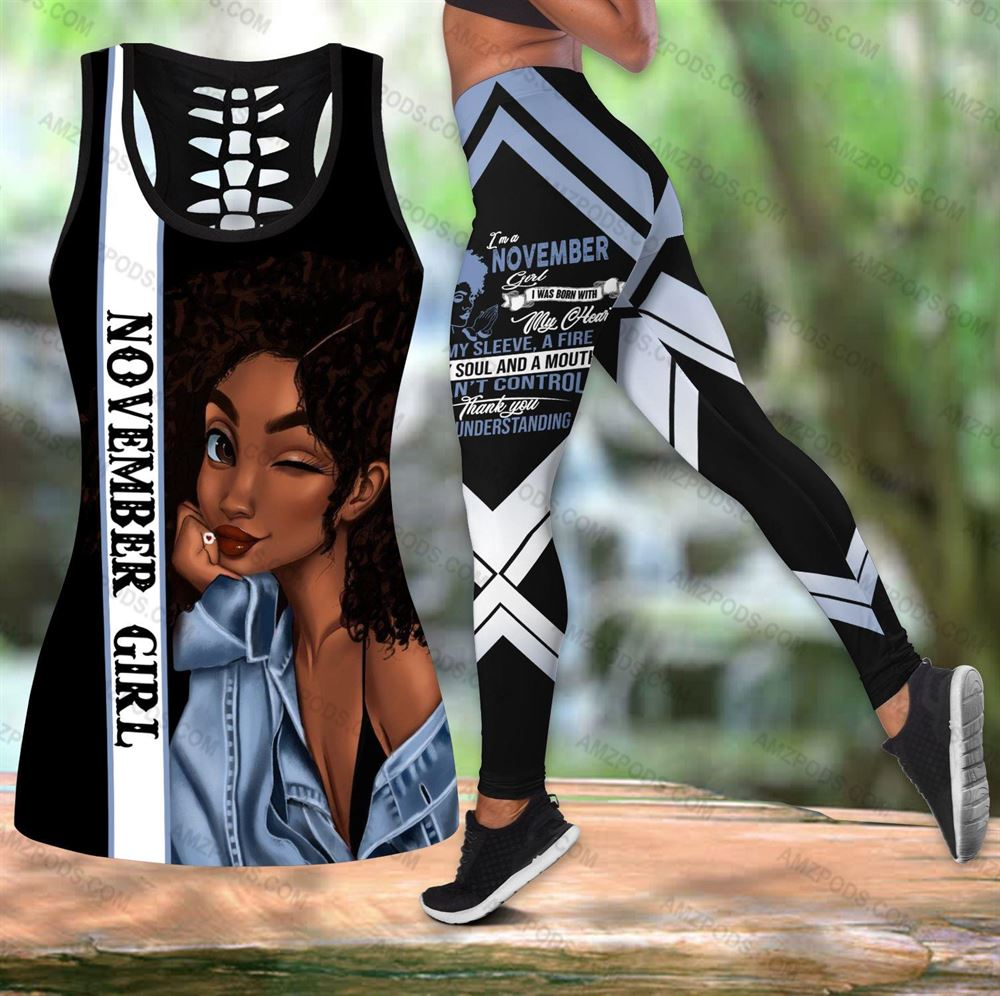 November Birthday Girl Combo November Outfit Hollow Tanktop Legging Personalized Set V060