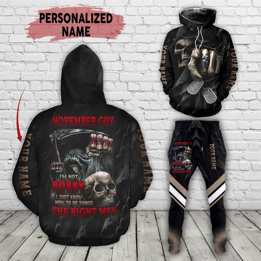 November Birthday Guy Combo November 3d Clothes Personalized Hoodie Joggers Set V02