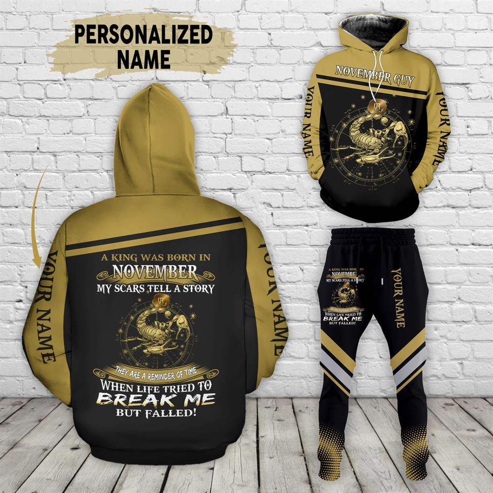 November Birthday Guy Combo November 3d Clothes Personalized Hoodie Joggers Set V024