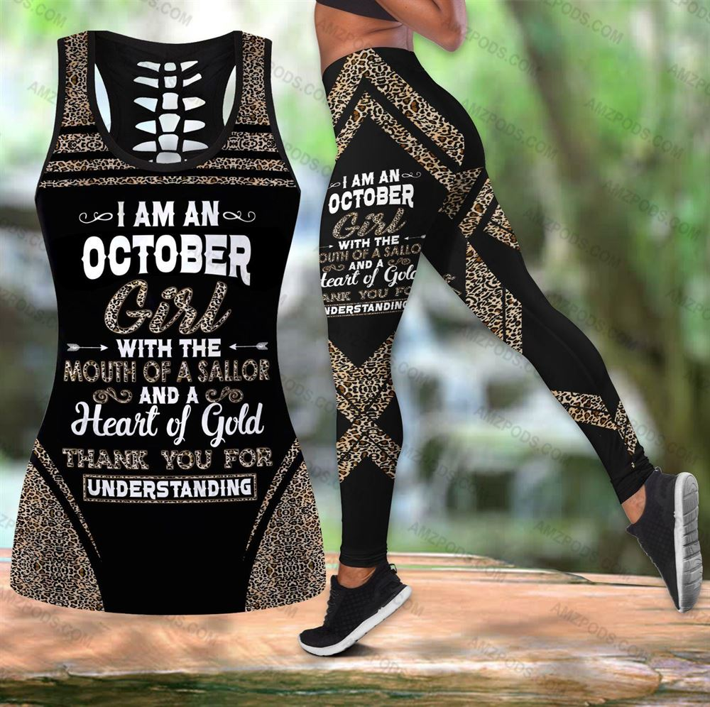 October Birthday Girl Combo October Outfit Hollow Tanktop Legging Personalized Set V012