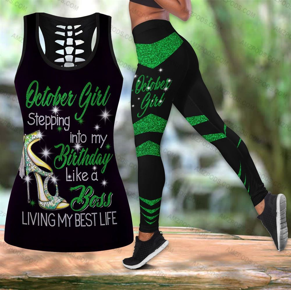 October Birthday Girl Combo October Outfit Hollow Tanktop Legging Personalized Set V013