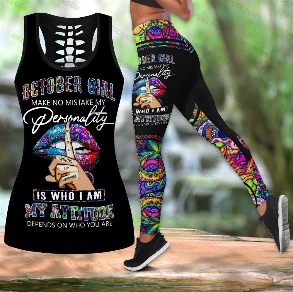 October Birthday Girl Combo October Outfit Hollow Tanktop Legging Personalized Set V015