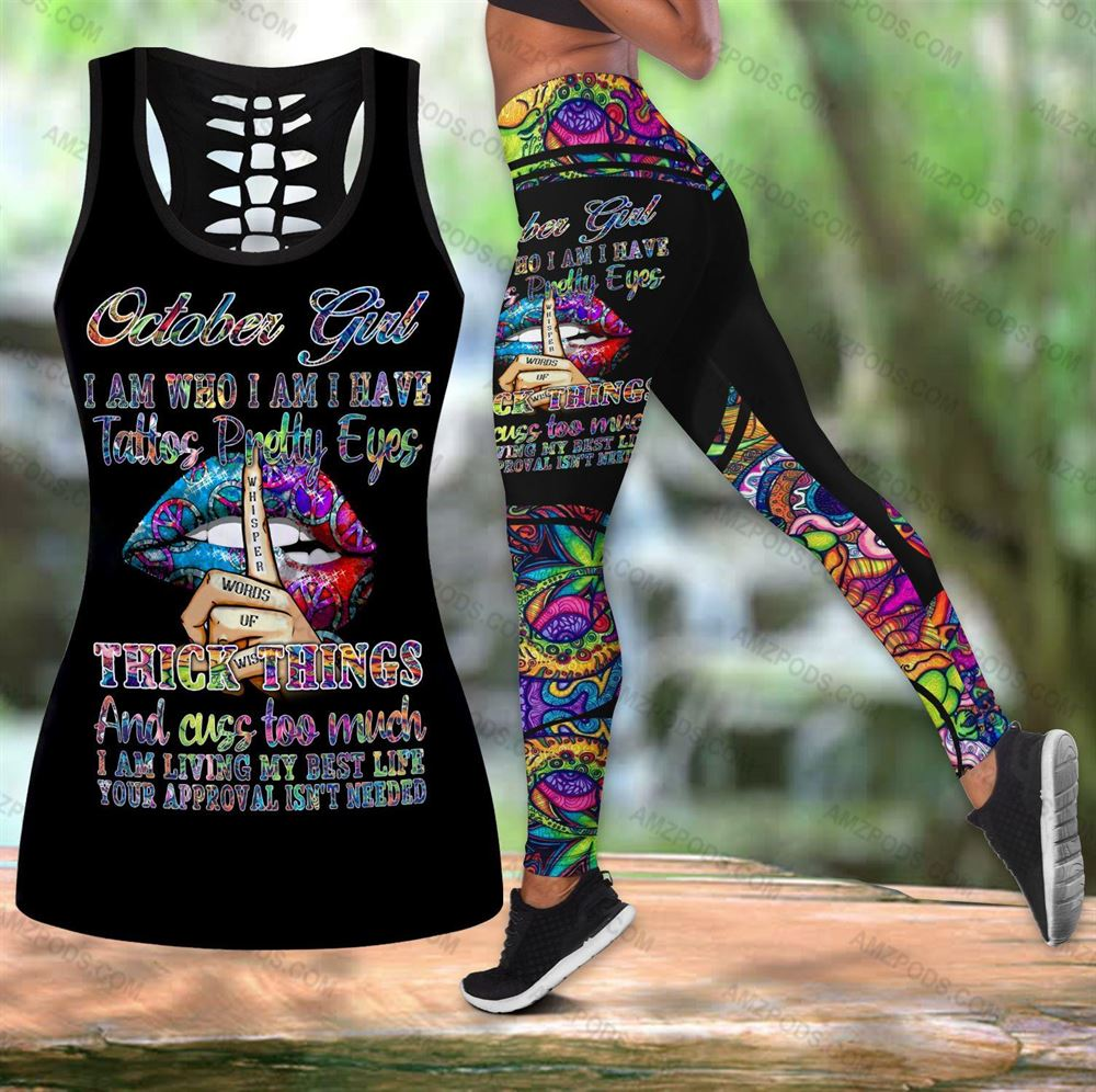 October Birthday Girl Combo October Outfit Hollow Tanktop Legging Personalized Set V018