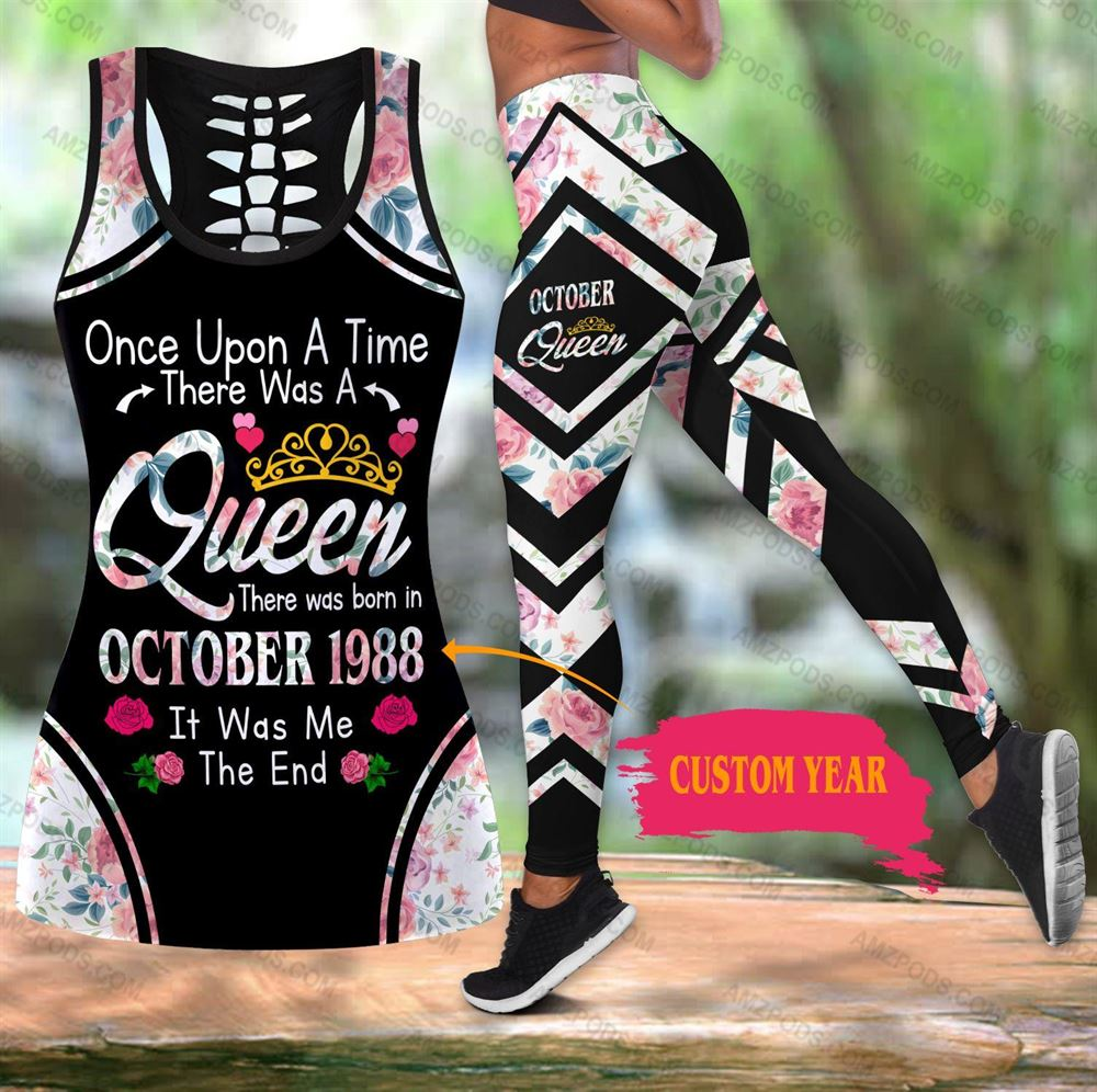 October Birthday Girl Combo October Outfit Hollow Tanktop Legging Personalized Set V019