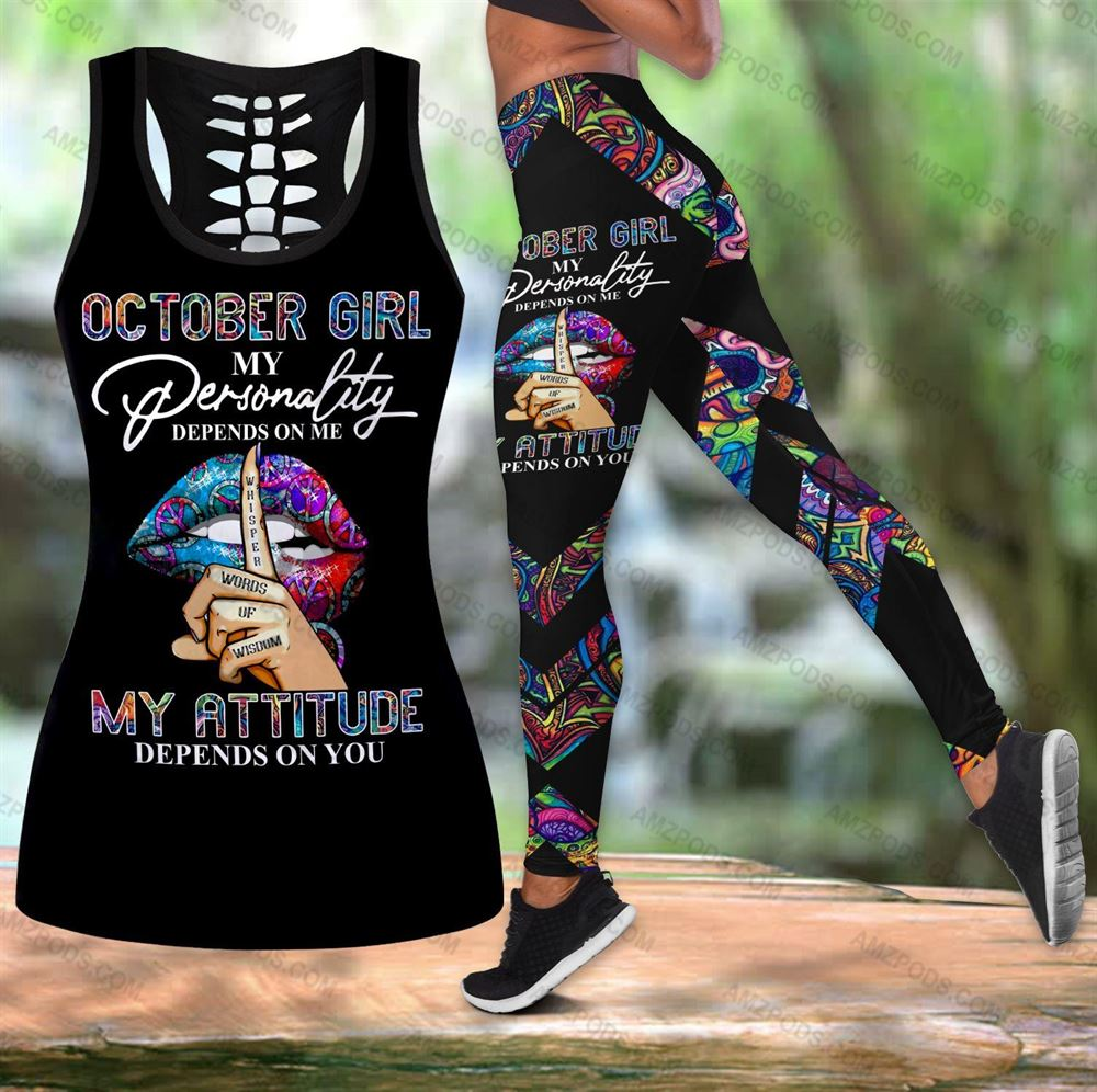 October Birthday Girl Combo October Outfit Hollow Tanktop Legging Personalized Set V024