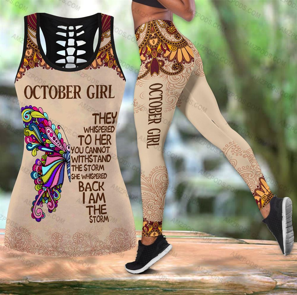 October Birthday Girl Combo October Outfit Hollow Tanktop Legging Personalized Set V025