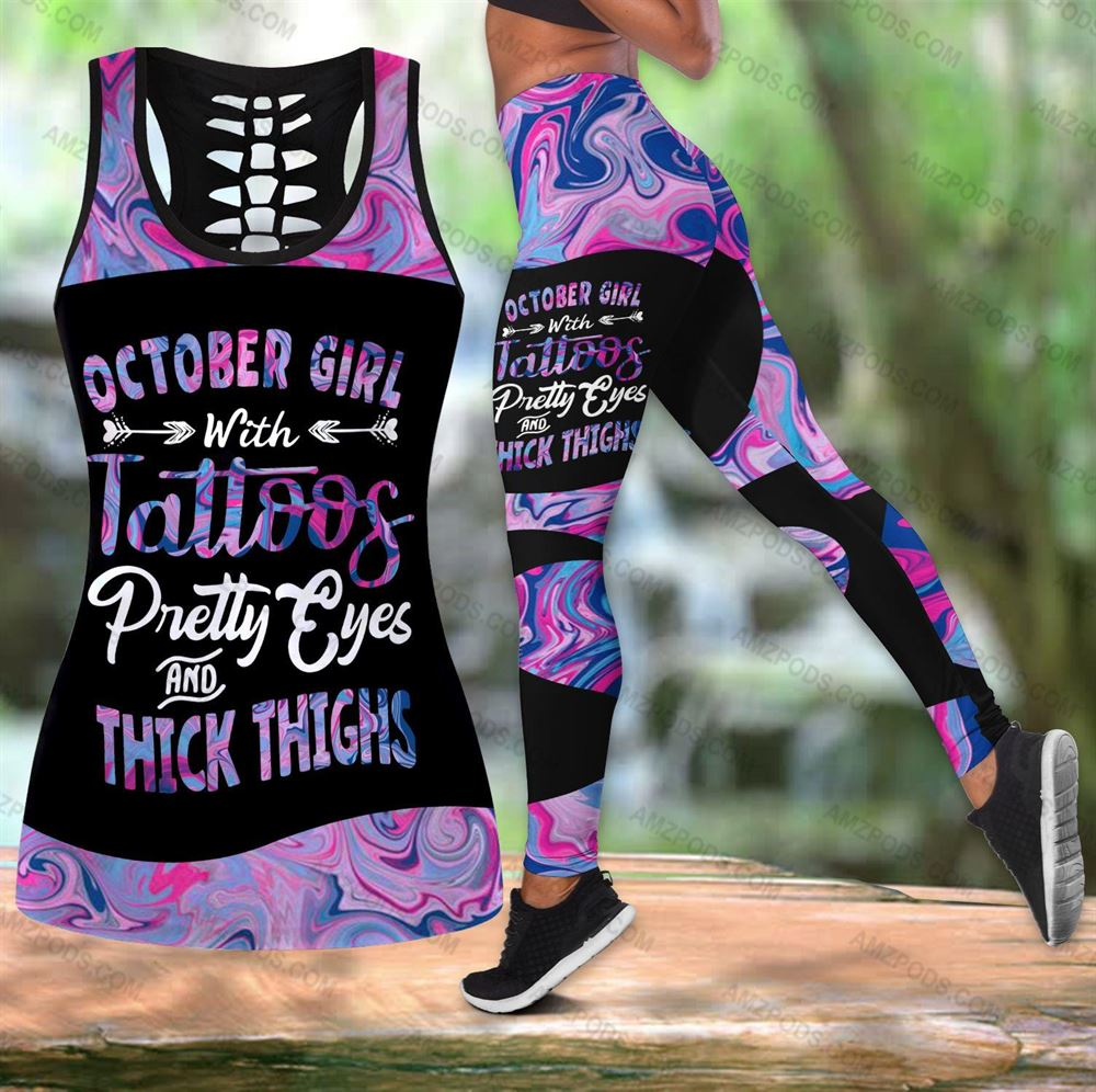October Birthday Girl Combo October Outfit Hollow Tanktop Legging Personalized Set V028