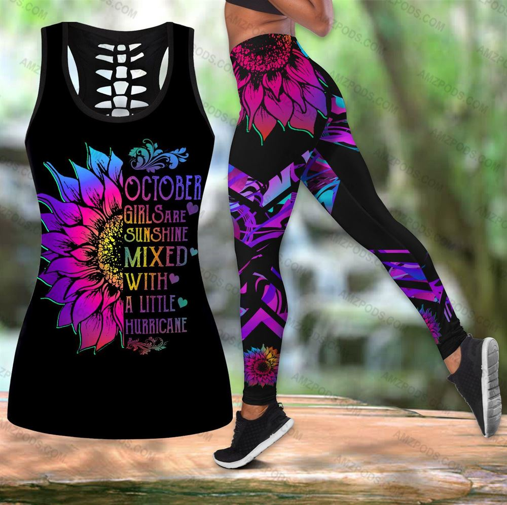 October Birthday Girl Combo October Outfit Hollow Tanktop Legging Personalized Set V03