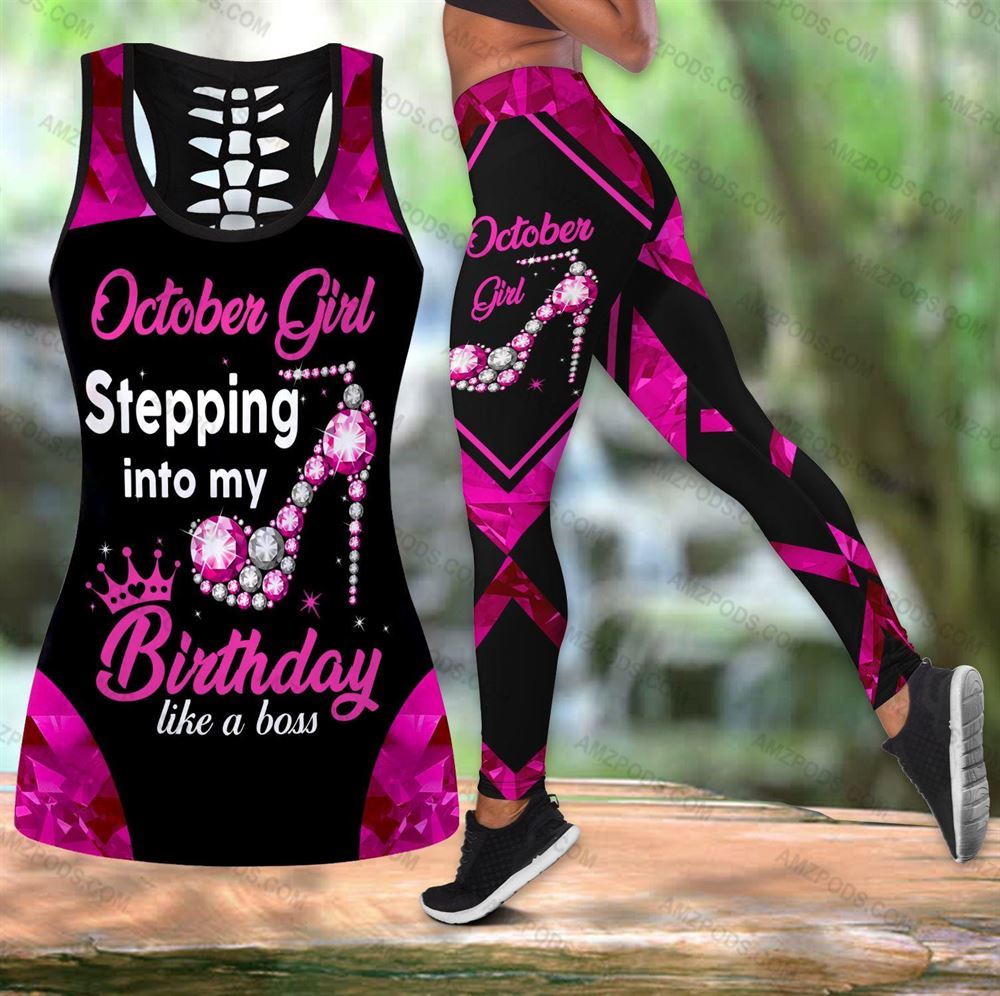 October Birthday Girl Combo October Outfit Hollow Tanktop Legging Personalized Set V038