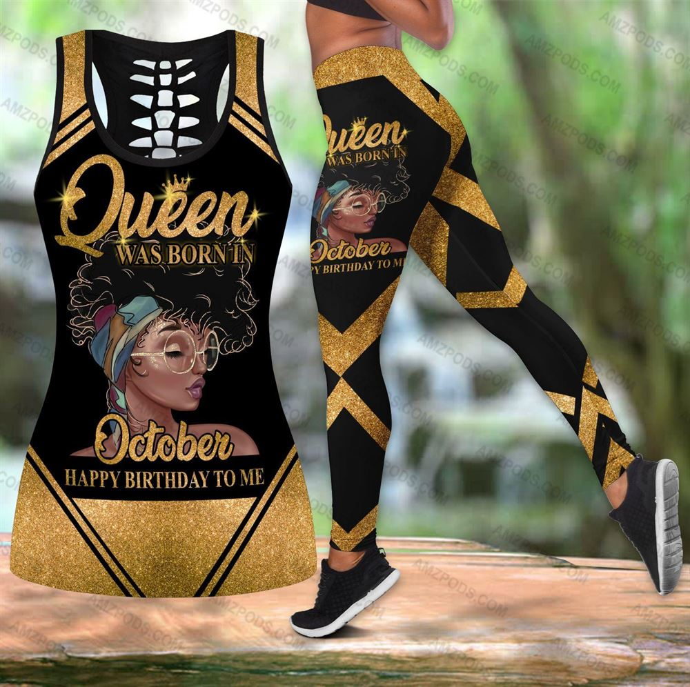 October Birthday Girl Combo October Outfit Hollow Tanktop Legging Personalized Set V039