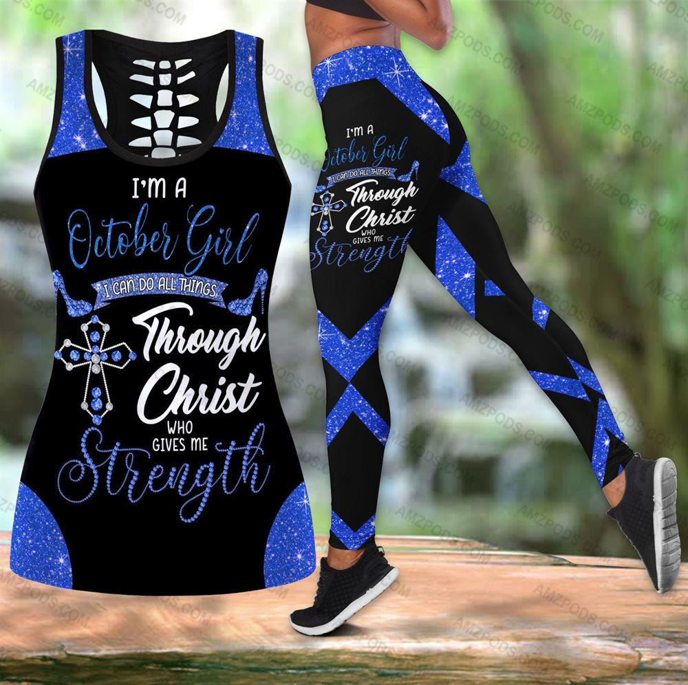 October Birthday Girl Combo October Outfit Hollow Tanktop Legging Personalized Set V041