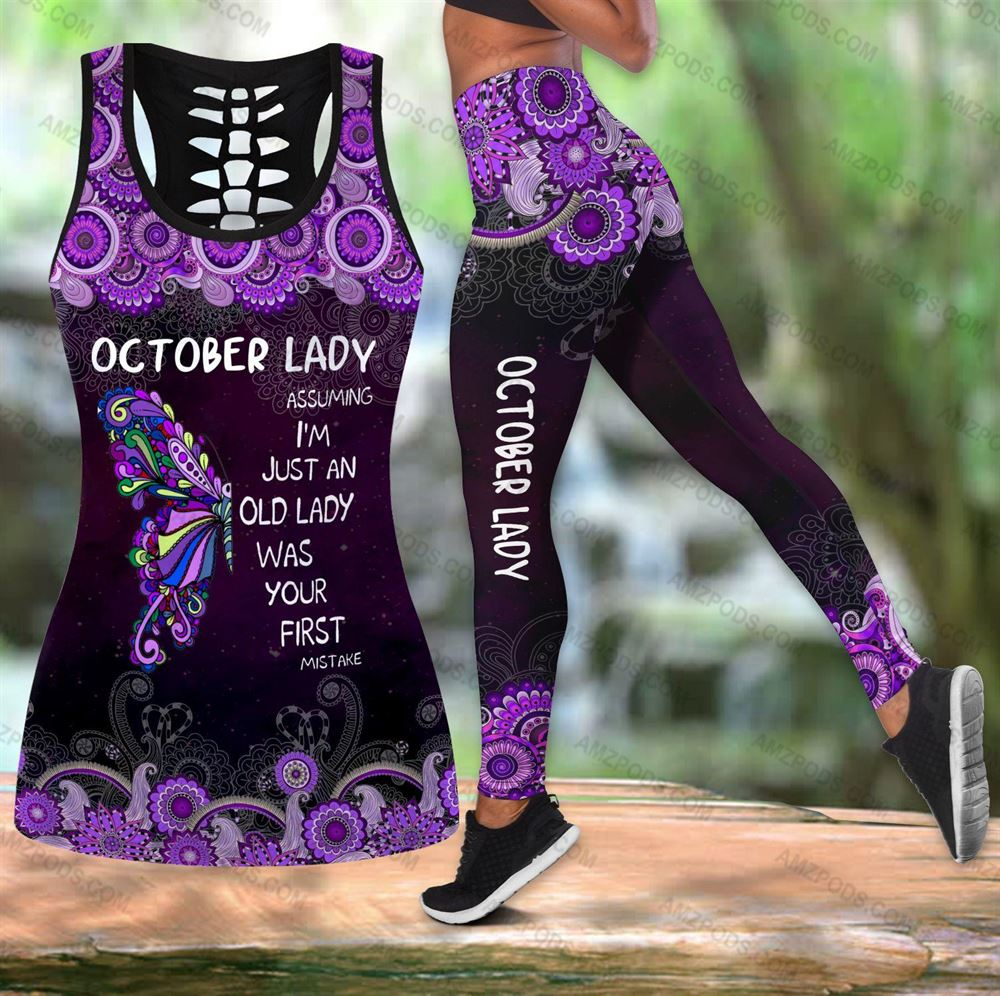October Birthday Girl Combo October Outfit Hollow Tanktop Legging Personalized Set V047