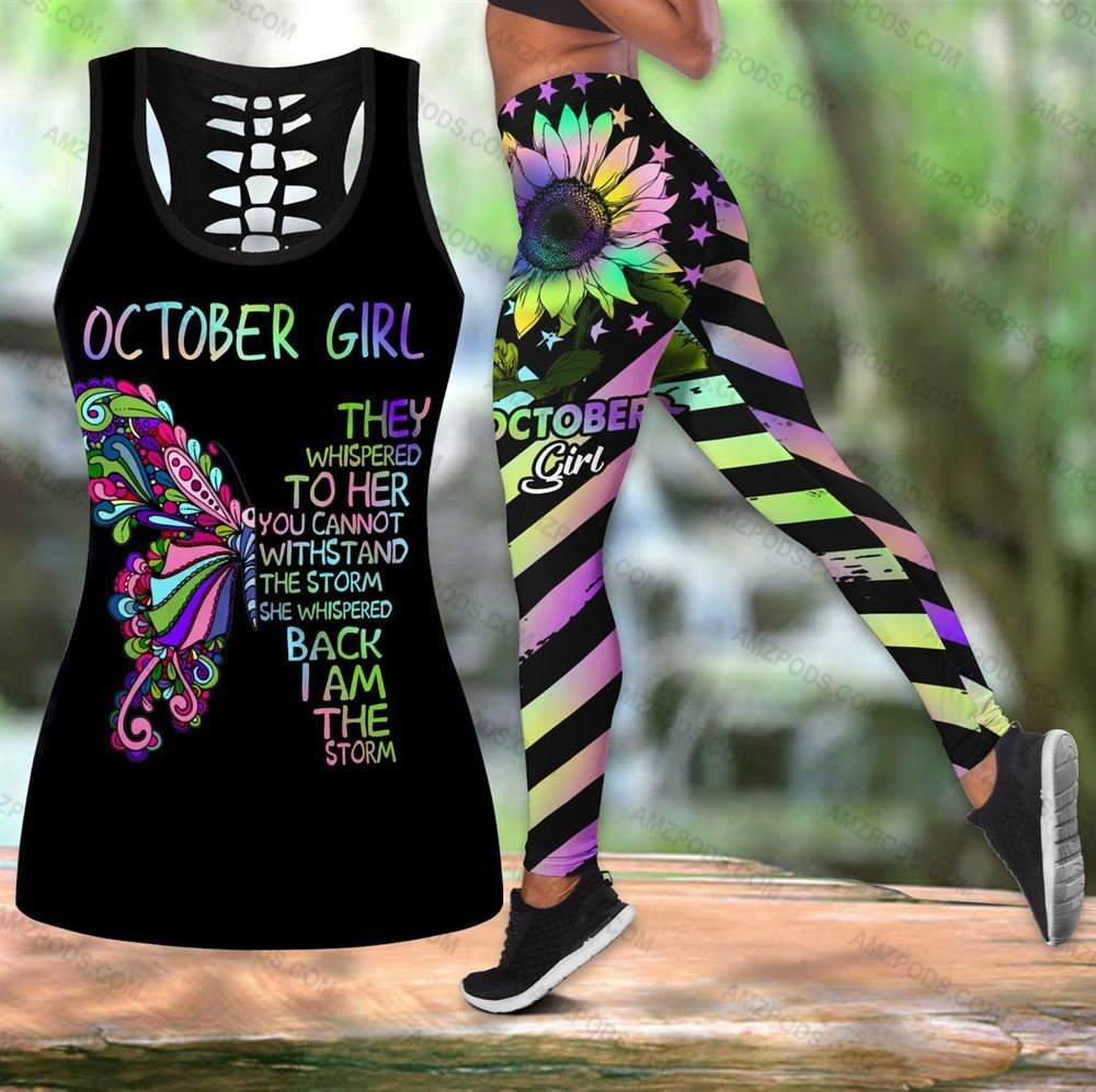 October Birthday Girl Combo October Outfit Hollow Tanktop Legging Personalized Set V05