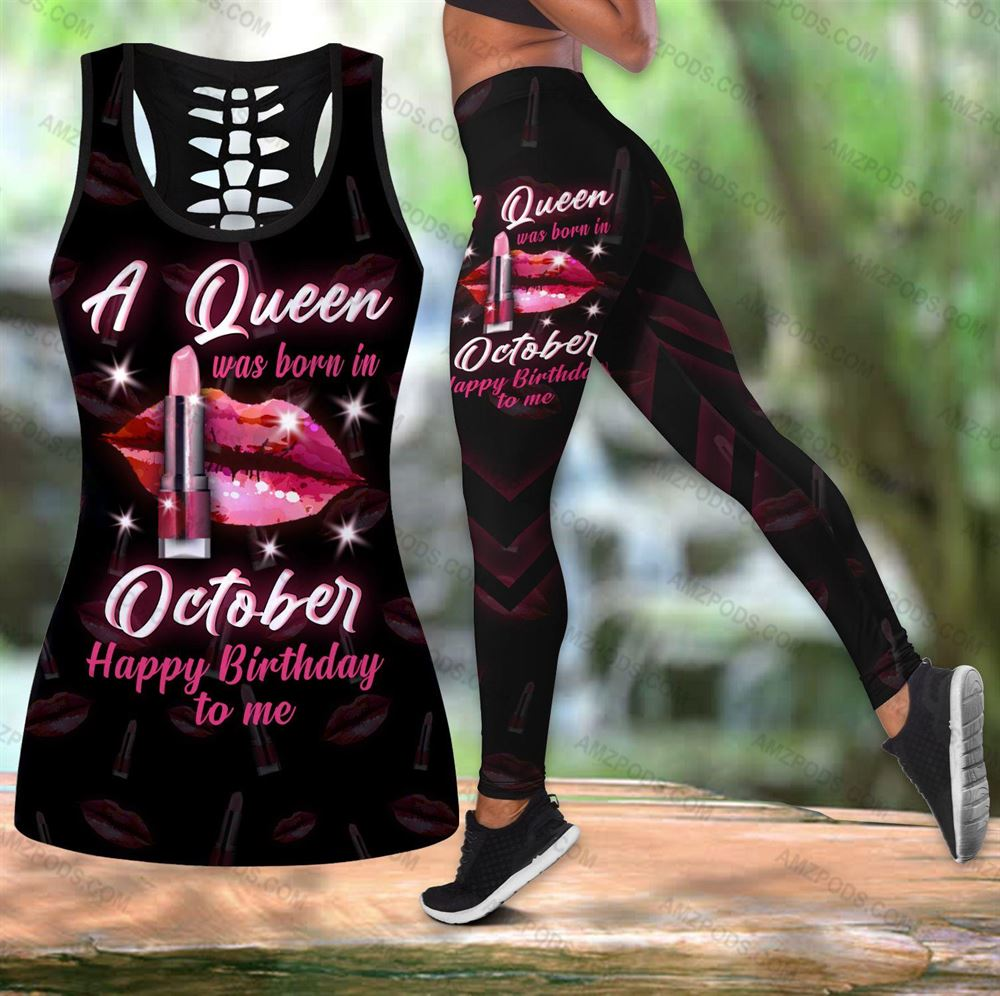 October Birthday Girl Combo October Outfit Hollow Tanktop Legging Personalized Set V054