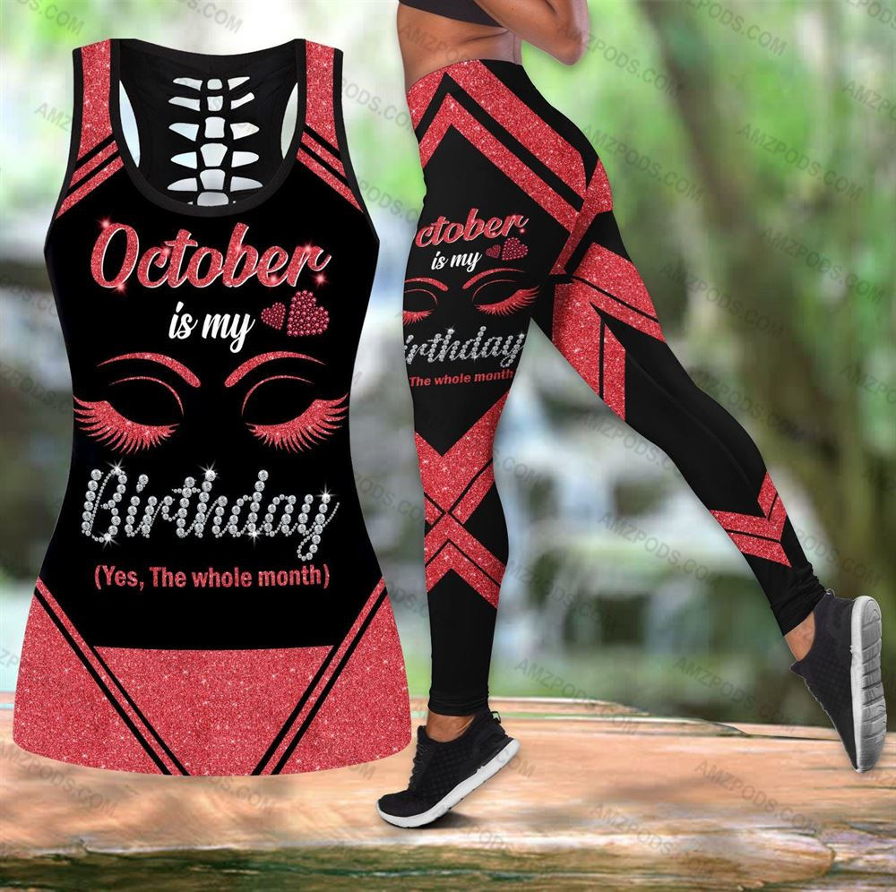 October Birthday Girl Combo October Outfit Hollow Tanktop Legging Personalized Set V056