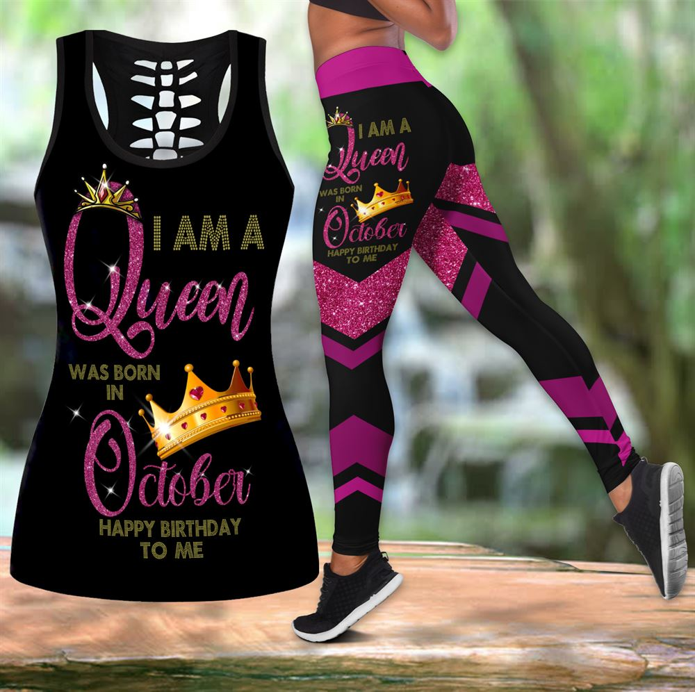 October Birthday Girl Combo October Outfit Hollow Tanktop Legging Personalized Set V059