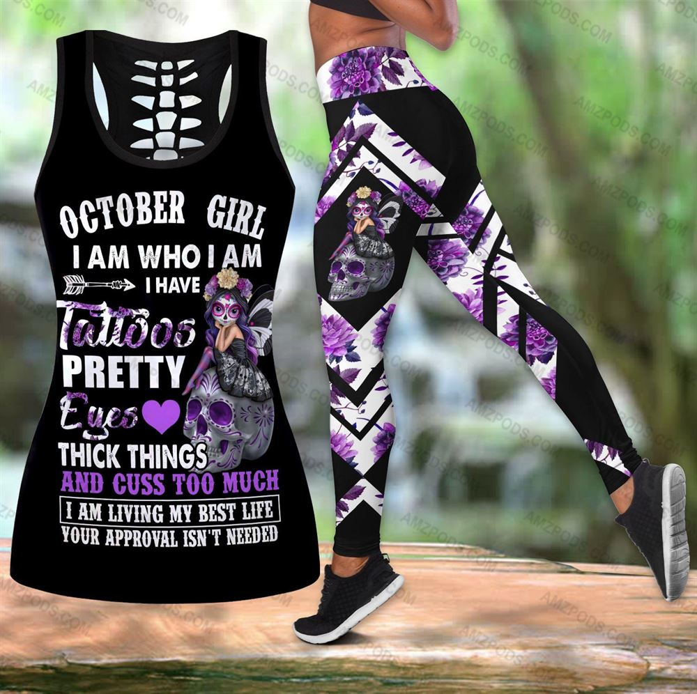 October Birthday Girl Combo October Outfit Hollow Tanktop Legging Personalized Set V08