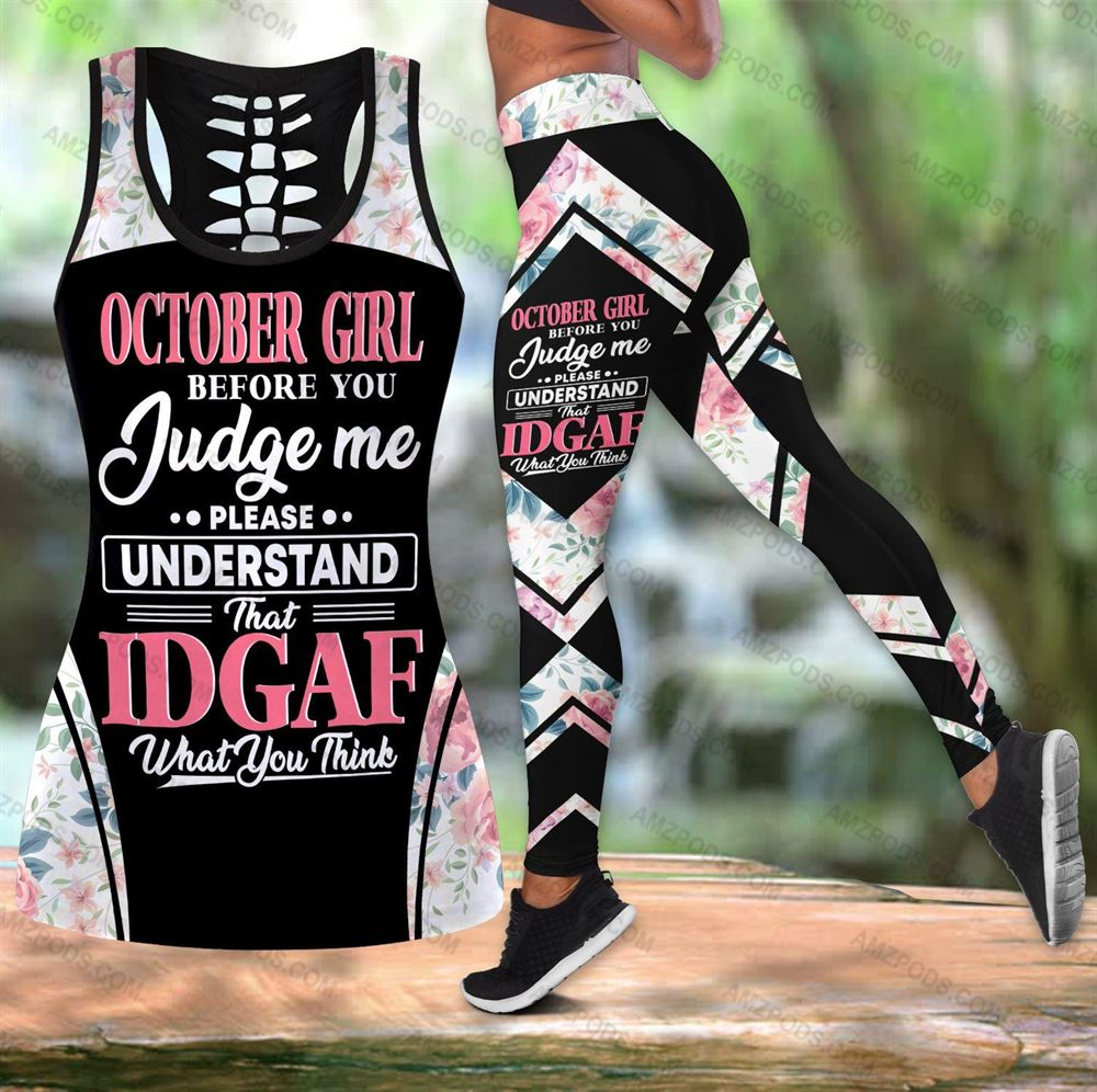 October Birthday Girl Combo October Outfit Hollow Tanktop Legging Personalized Set V09