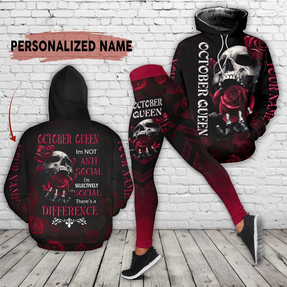 October Birthday Girl Combo October Outfit Personalized Hoodie Legging Set V02