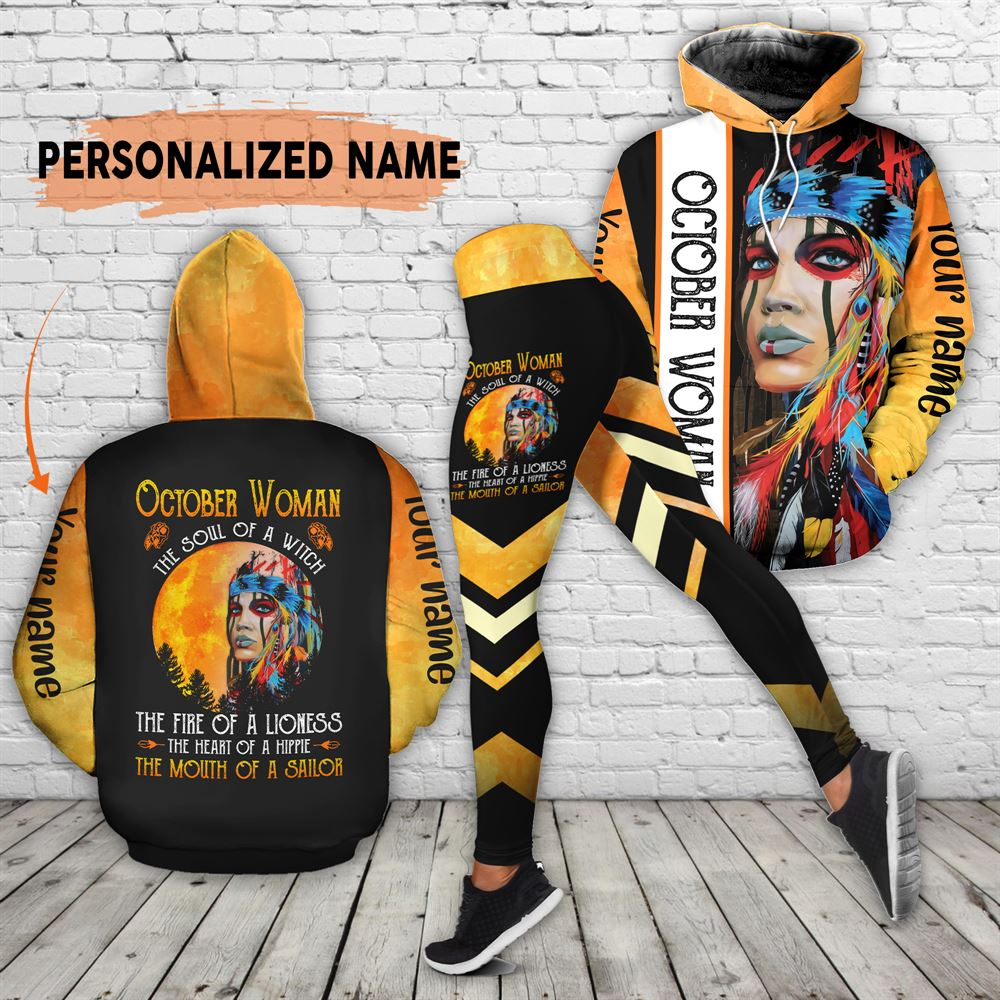 October Birthday Girl Combo October Outfit Personalized Hoodie Legging Set V023