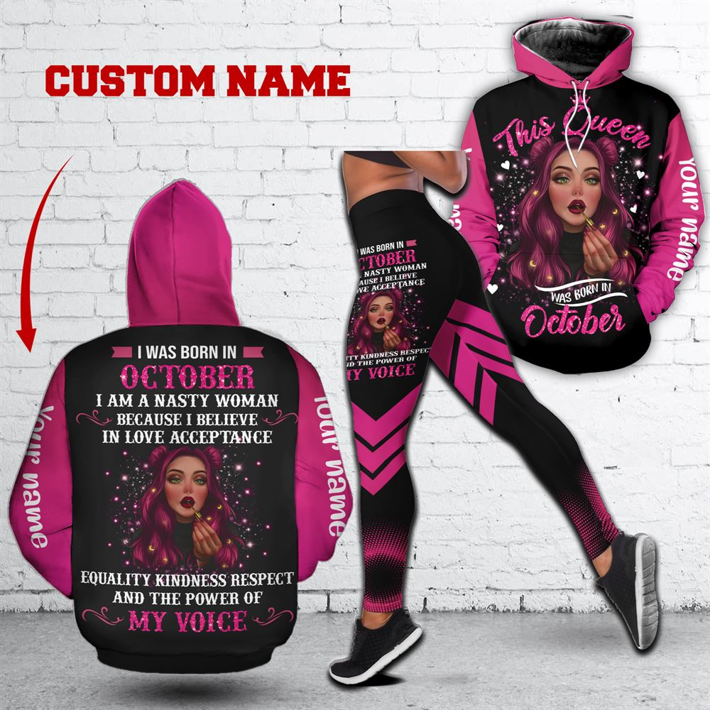 October Birthday Girl Combo October Outfit Personalized Hoodie Legging Set V025