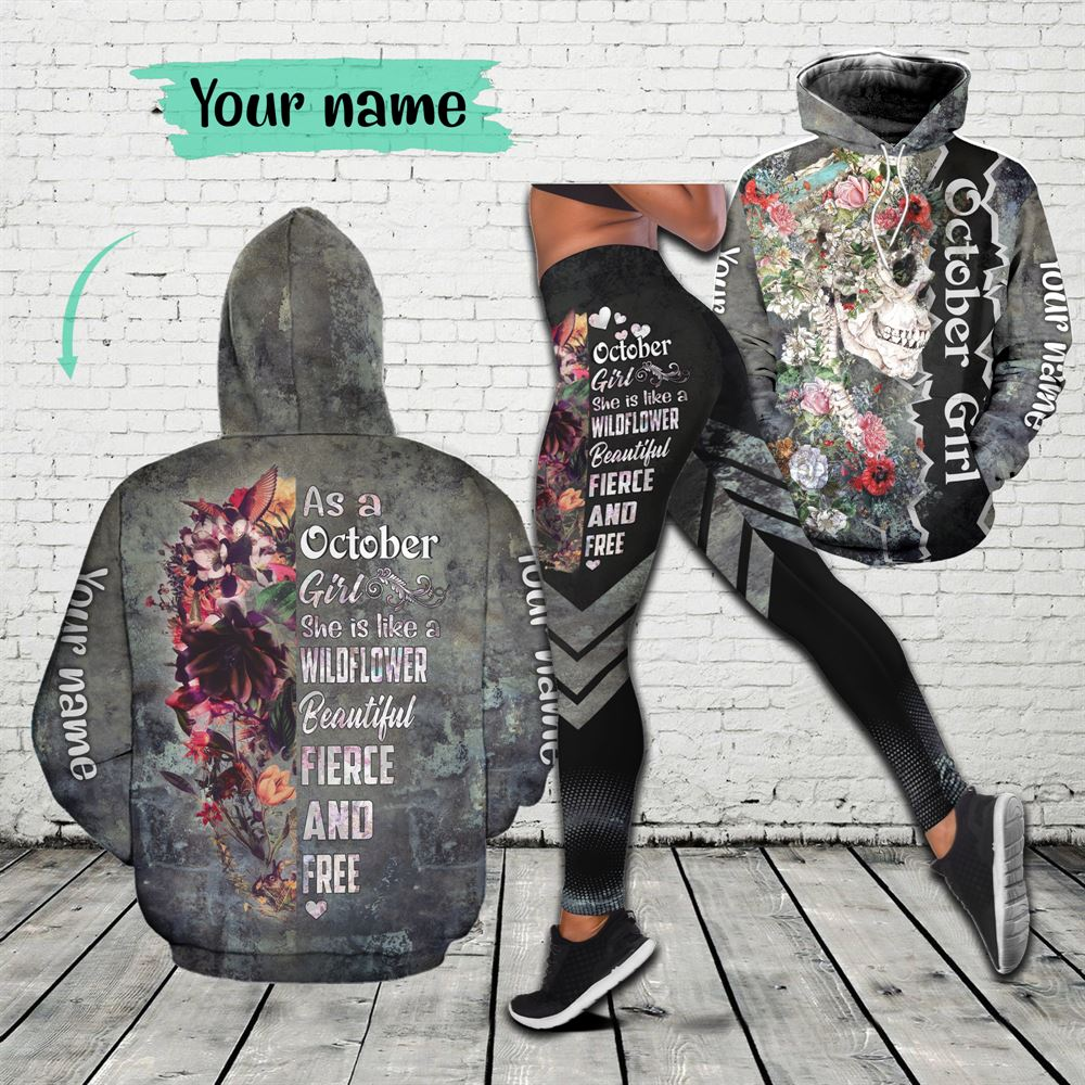 October Birthday Girl Combo October Outfit Personalized Hoodie Legging Set V07