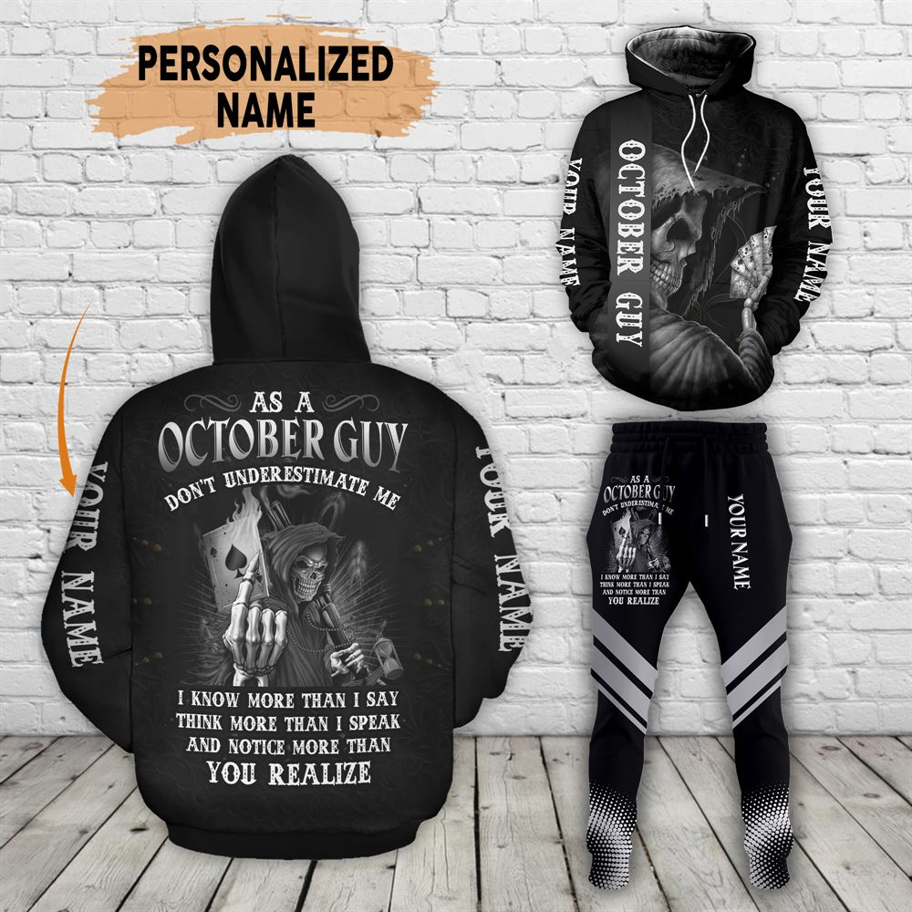 October Birthday Guy Combo October 3d Clothes Personalized Hoodie Joggers Set V011