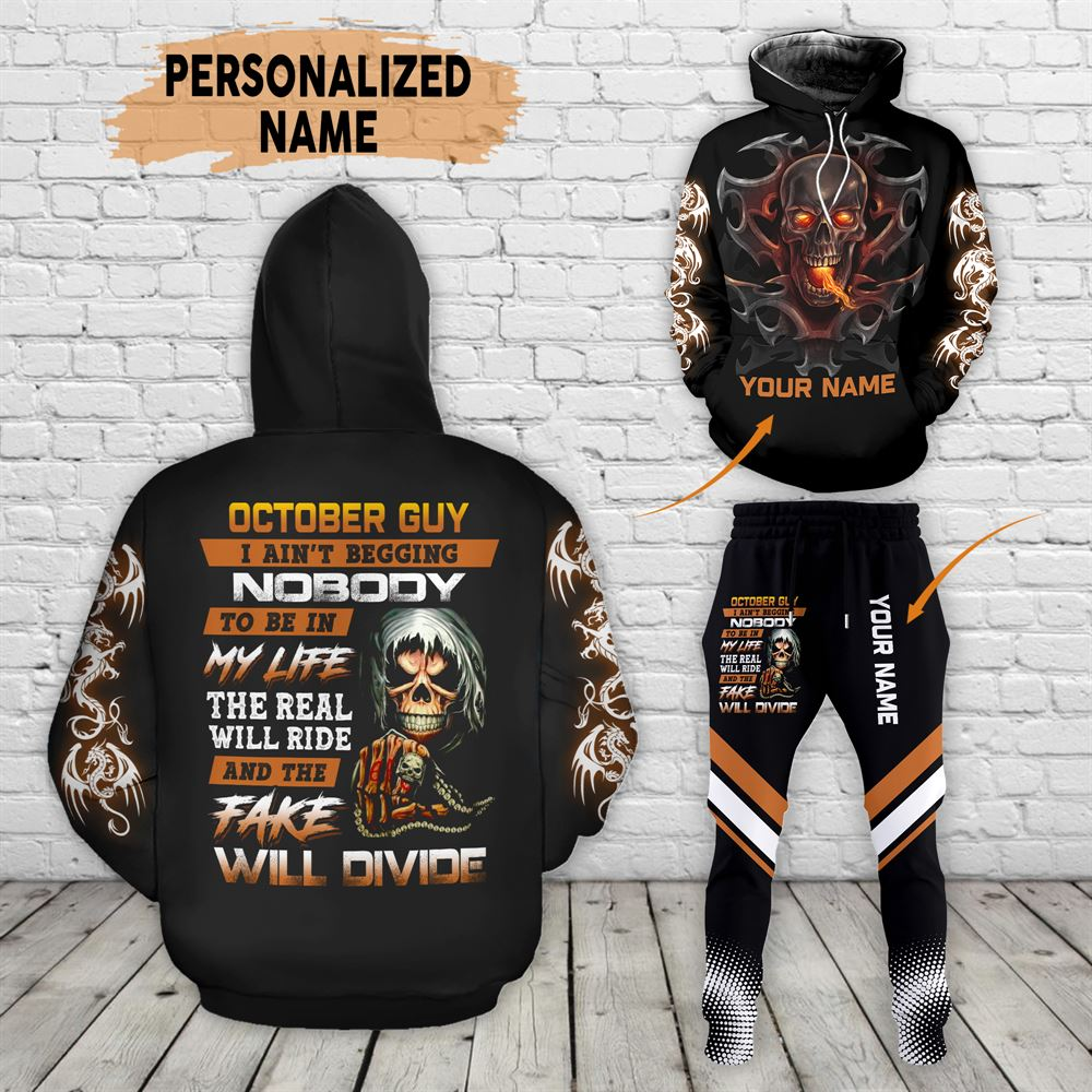 October Birthday Guy Combo October 3d Clothes Personalized Hoodie Joggers Set V024