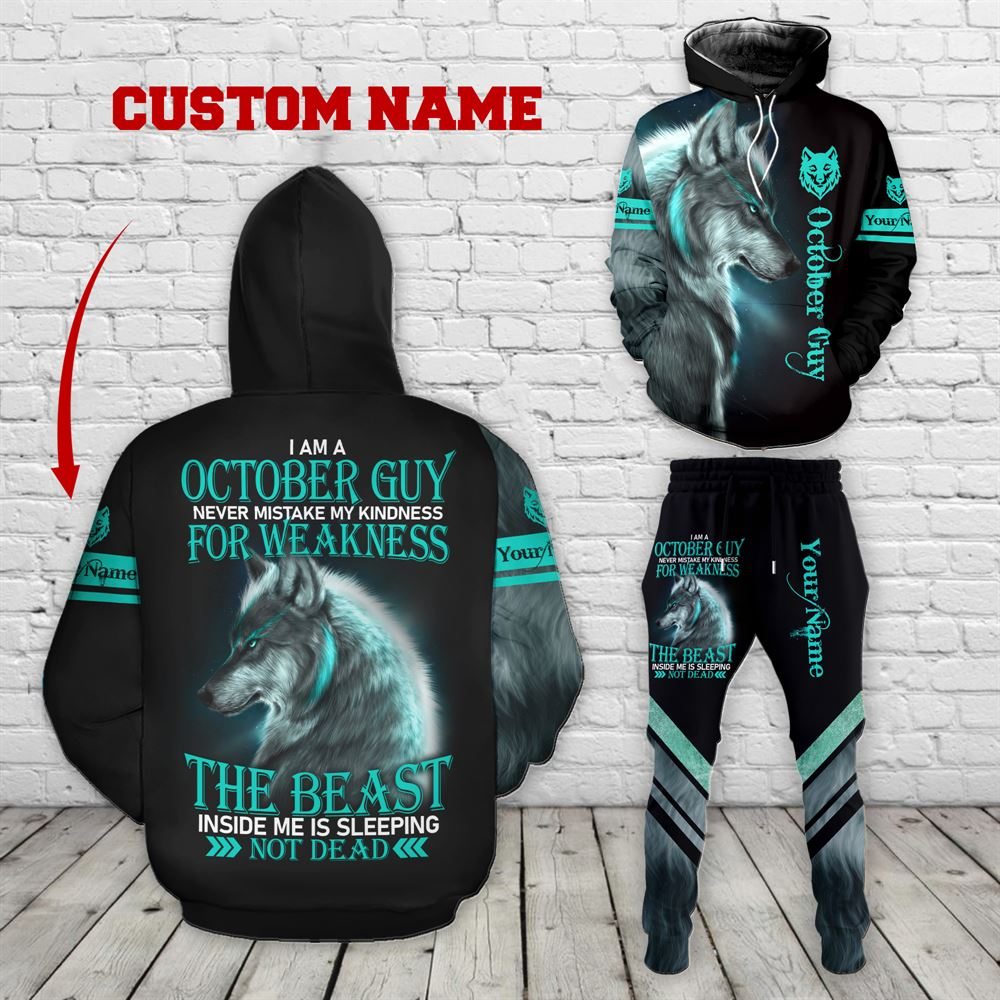 October Birthday Guy Combo October 3d Clothes Personalized Hoodie Joggers Set V028