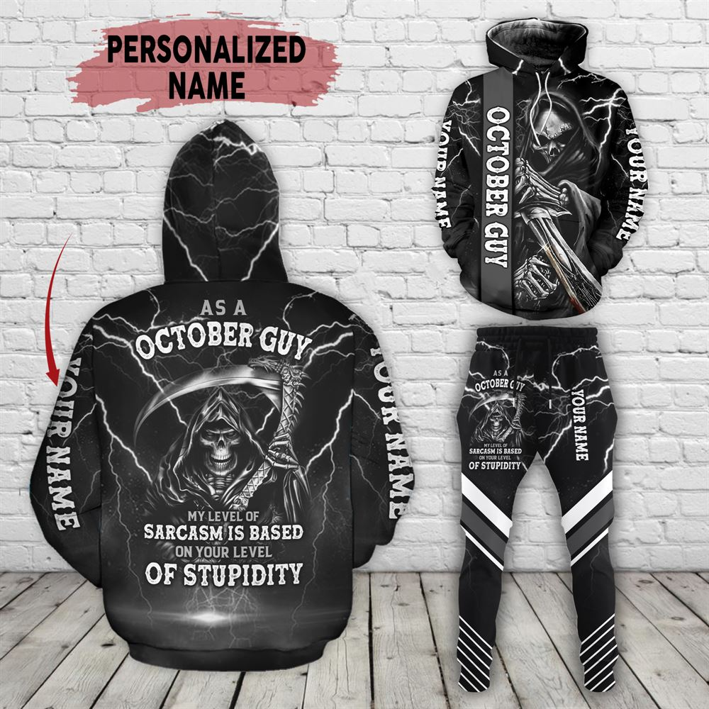 October Birthday Guy Combo October 3d Clothes Personalized Hoodie Joggers Set V03