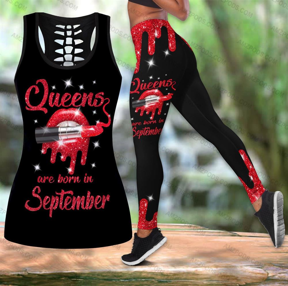 September Birthday Girl Combo September Outfit Hollow Tanktop Legging Personalized Set V016