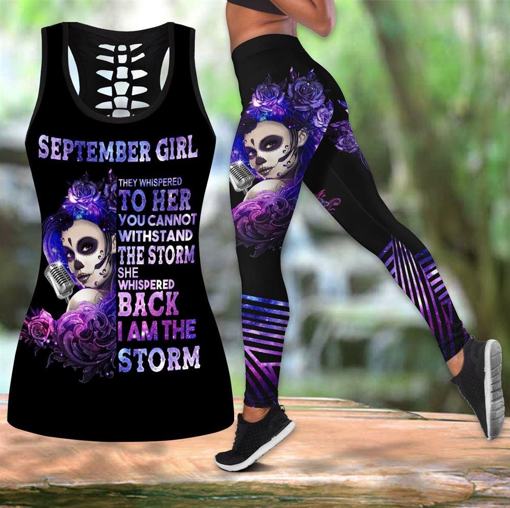 September Birthday Girl Combo September Outfit Hollow Tanktop Legging Personalized Set V02
